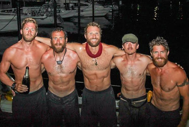 Team Essence members (left to right) Oliver Bailey, Jason Fox, Mathew Bennett, Ross Johnson and Aldo Kane celebrating after they arrived in Trinidad.