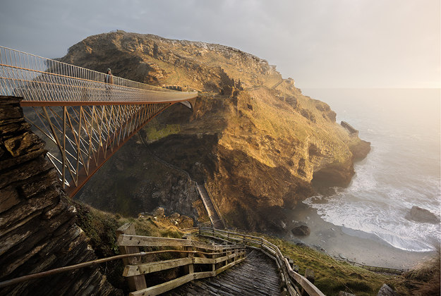 The successful design for a new footbridge at Tintagel Castle in Cornwall, chosen by English Heritage.