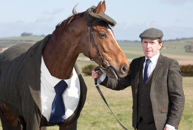 Former jockey A.P. McCoy unveils the world's first authentic Harris Tweed suit designed for a racehorse.
