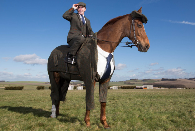 The tweed suit was designed by former Alexander McQueen apprentice Emma Sandham-King and modelled by veteran racehorse Morestead.