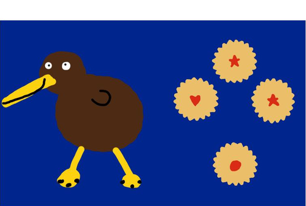 Happy Kiwis Designed by: Karl Hammond from Northland It stands for our iconic kiwi and an iconic biscuit, the shrewsbury biscuit