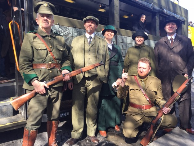 The tour visits key locations of 1916 Dublin in a specially converted 1916 themed truck.