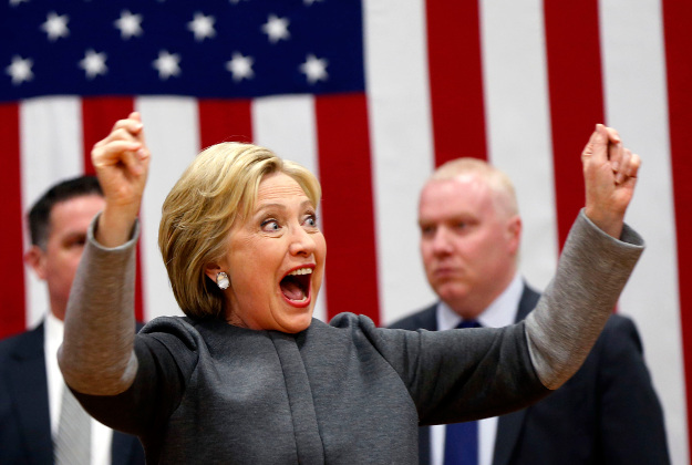 Hillary Clinton greets crowd on Super Tuesday
