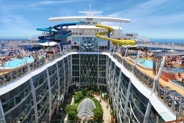 Guests onboard Harmony of the Seas can test their mettle on the ship's three multi-story waterslides, all of which twist and turn over Central Park 10 decks below. One of the slides also will feature a champagne bowl that swirls guests around as they make their approach to the end of the ride.