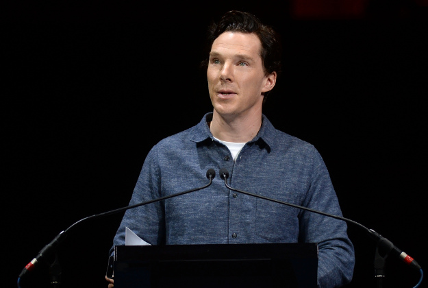 Benedict Cumberbatch reads a letter from Mark Twain during the fourth night of the Letters Live series at the Freemason's Hall,