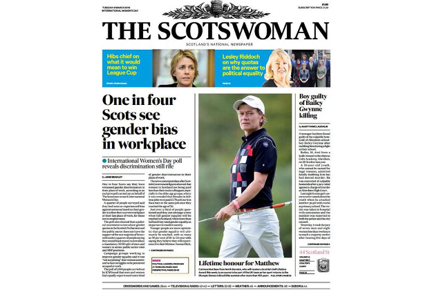 To mark International Women's Day, The Scotsman will be re-branded for one edition as The Scotswoman tomorrow.