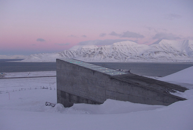 The permafrost surrounding the seed vault