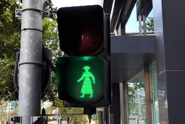 """""""A busy Melbourne streetscape will soon be host to a unique set of pedestrian signals to honour Victoria's first female Councillor""""."""