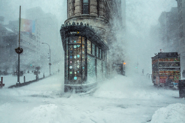 While walking through the Jonas Winter Storm that swept across the East Coast last week, I captured this shot of the Flatiron Building against a backdrop of swirling snow. With the exception of a few minor details like logos and a food cart, the image looks like an impressionist right out of another another century. The cloudy atmosphere and gusty winds creates patterns that appear uncannily like brush strokes. Location: New York City, New York, United States