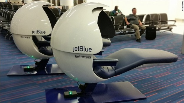 The napping pods at JetBlue's Terminal 5 at JFK International Airport. Image: JetBlue