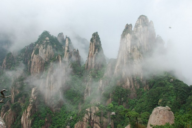 The misty mountains of Sanqingshan.