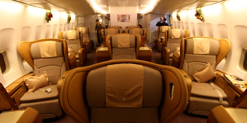 First class travel with Singapore Airlines.
