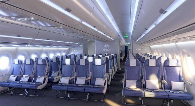 The A350 XWB allows for high-comfort economy seating with standard 18-inch seat width. Image: Airline Reporter