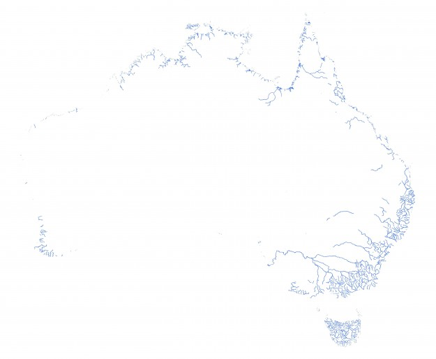 Robbi also mapped out Australia's permanent rivers and streams. The result is a little different.