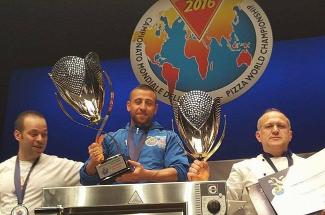 Ludovic Bicchierai from Pizzeria Le Gusto, winner of the Pizza World Championships in Parma. Image: https://www.facebook.com/Le-gusto-pizza/