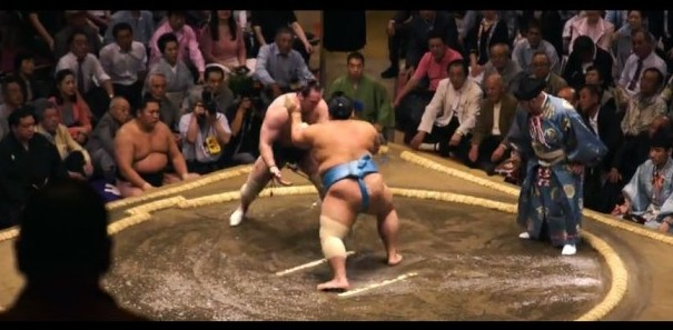 Sumo wrestlers captured in the footage