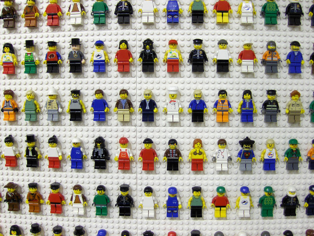 Lego people on the wall at the Lego store in Downtown Disney.