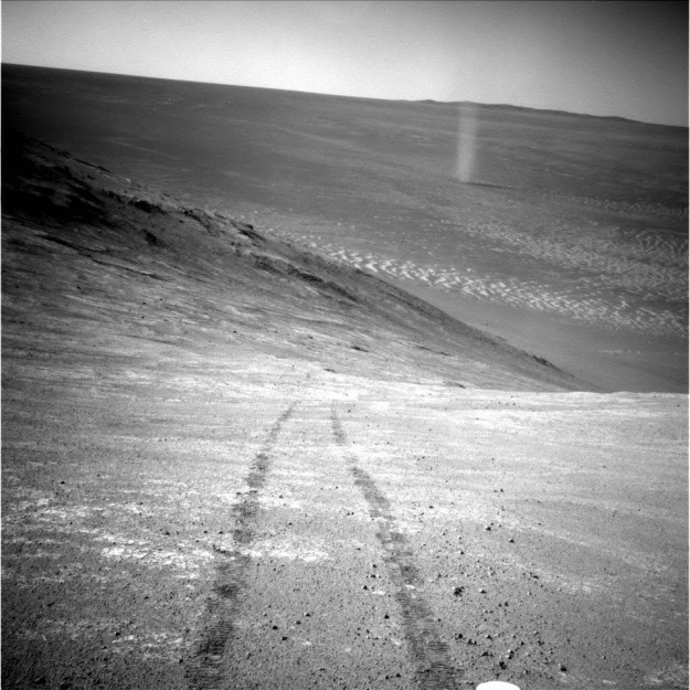 Images of the landscape of Mars have been sent back from Opportunity rover, which is making its way over the surface of the planet. The photos were shared from the Mars Exploration Rover Facebook page on April 4. The rover has been on the planet since 2003 and is searching for answers on the history of water on Mars.