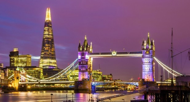 View of Tower Bridge in the evening - London.