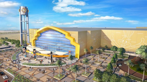 A rendering of the Warner Bros. World Abu Dhabi theme park entrance.