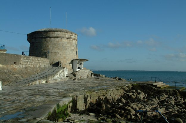 The Forty Foot Bathing area in Sandycove with the James Joyce Museum Martello Tower