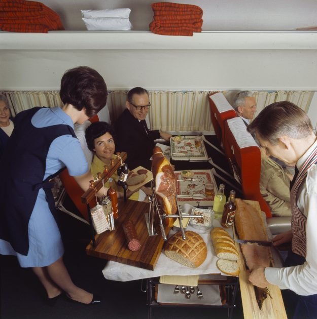 Air hostesses and stewards were trained in how to serve passengers full course meals.