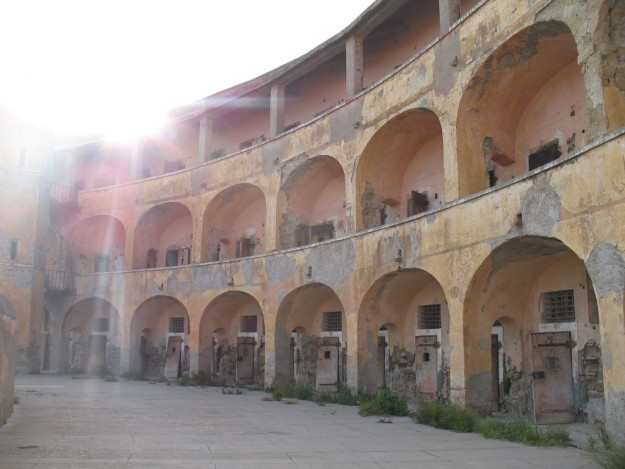 A view of the abandoned prison on Santo Stefano.