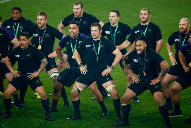 All Blacks do the Haka during the 2015 Rugby World Cup.