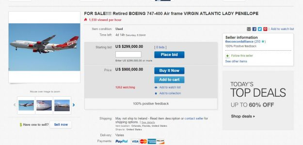 The auction listing for the Boeing 747 jet.