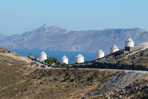 Windmills on Leros Island.