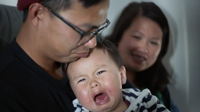 A crying baby on board Flight 213. Image: JetBlue
