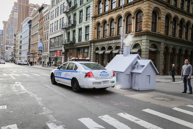 The NYPD have told Reigelman to be careful as he creates his art.