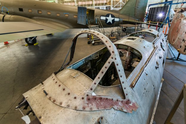 The forward part of the fuselage.