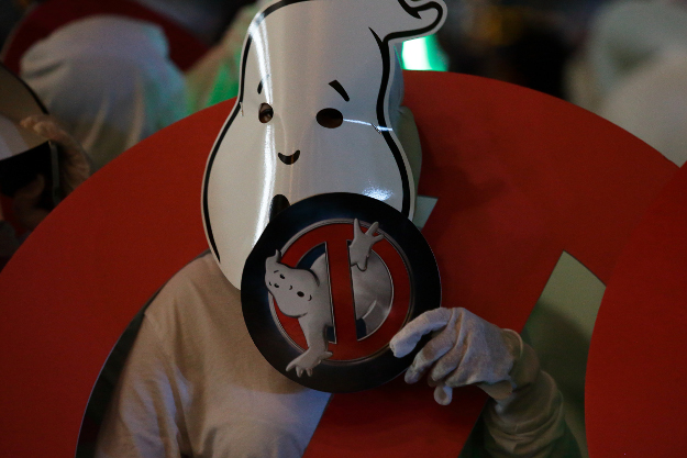 A Ghostbusters fan dressed as ghost is seen at The Event Plaza at Marina Bay Sands on June 12, 2016 in Singapore.