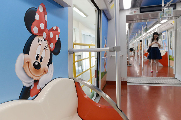 A Mickey Mouse is seen on the body of the Disney theme metro train on June 14, 2016 in Shanghai, China. The Disney theme metro train would officially run on June 16 when Shanghai Disney Resort officially opened to public.