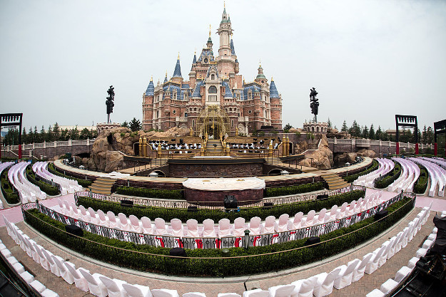 Seats are set up for the opening ceremony in front of the Enchanted Storybook Castle at Shanghai Disney Resort in Shanghai on June 15, 2016. The Magic Kingdom comes to the Middle Kingdom this week when Disney opens its first theme park in mainland China, betting the growing middle class will spend big on leisure despite a slowing economy.