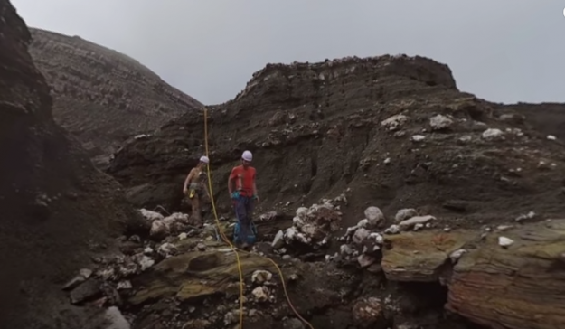 The team of hikers descend amid toxic gasses