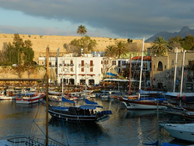 Old town and harbour in Kyrenia, Cyprus.