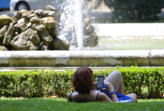 Relaxing in a Zagreb park.