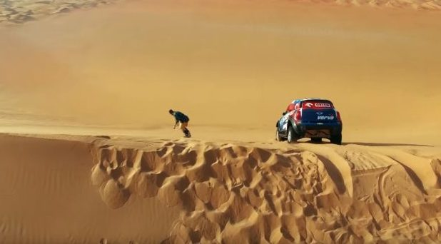 A snowbaorder and rally racer took to the UAE sand dunes