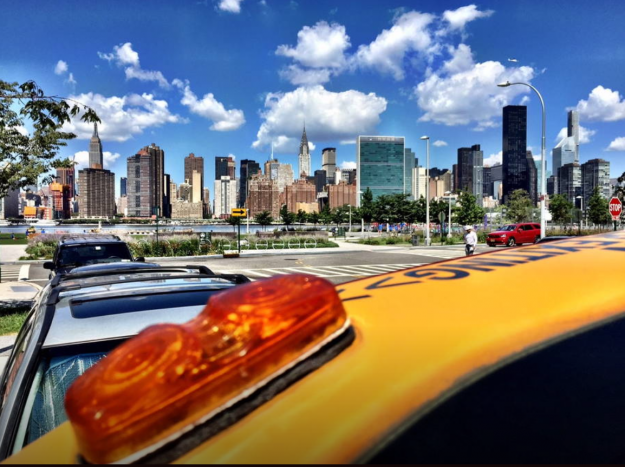 The NYC taxi cab available as accommodation on Airbnb. Image: Airbnb