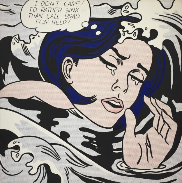 """Roy Lichtenstein (American, 1923–1997) Drowning Girl, 1963 Oil and synthetic polymer paint on canvas 67 5/8 x 66 3/4"""" (171.6 x 169.5 cm) The Museum of Modern Art, New York. Philip Johnson Fund (by exchange) and gift of Mr. and Mrs. Bagley Wright"""