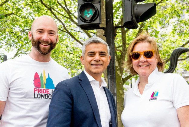 New lights: Mayor of London Sadiq Khan joins Michael Salter-Church and Alison Camps from Pride in London Transport for London