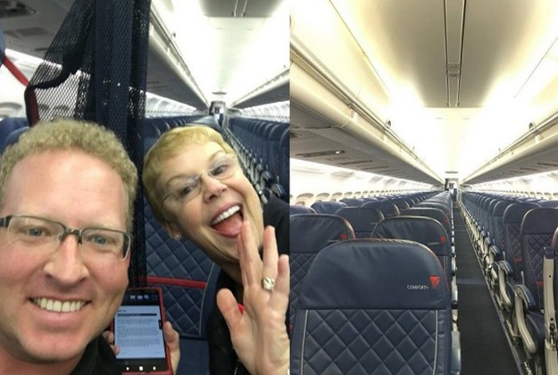 Stephen Schneider with a member of cabin crew on the Delta flight to Atlanta last week
