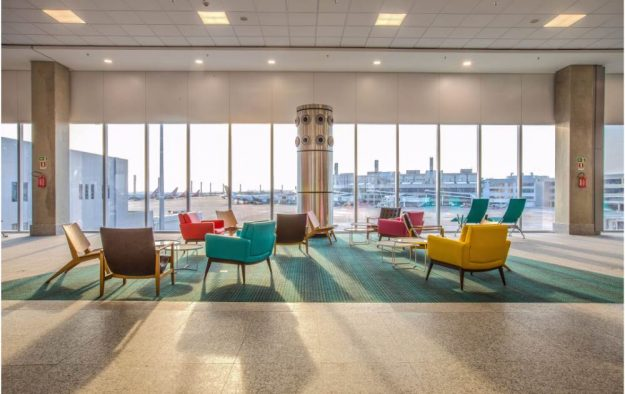 Classic Brazilian furniture is a feature of the new South Pier in the airport's Terminal 2
