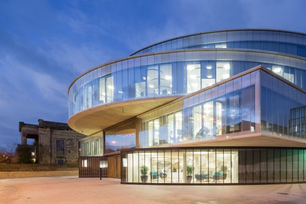 The Blavatnik School of Government, a contemporary new building in a conservation area.