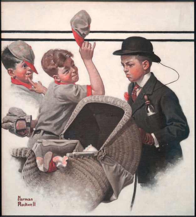Boy with Baby Carriage, 1916. Cover illustration for The Saturday Evening Post, May 20, 1916.
