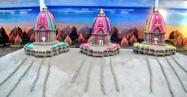 The colourful sand sculptures are part of the Rath Yatra Festival