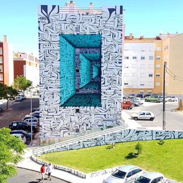 Astro's optical illusion wall in Loures, Portugal: Image: Astro