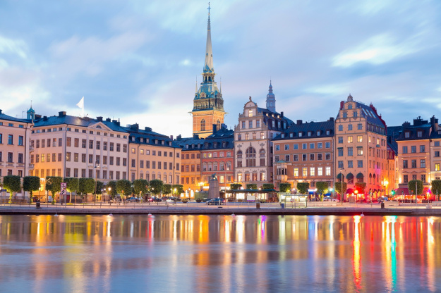 Sweden, Stockholm, View to Gamla Stan with German Church in the evening light.